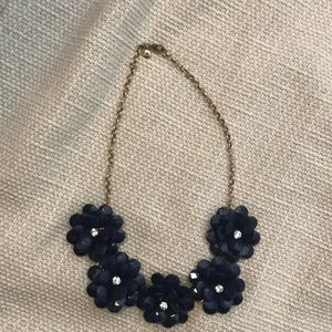 J.Crew Navy Flower Statement Necklace